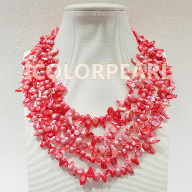 Lovely 5-Strand Pink Tail Shaped Natural Freshwater Pearl Jewelry Necklace.The Best Gift For Spring!