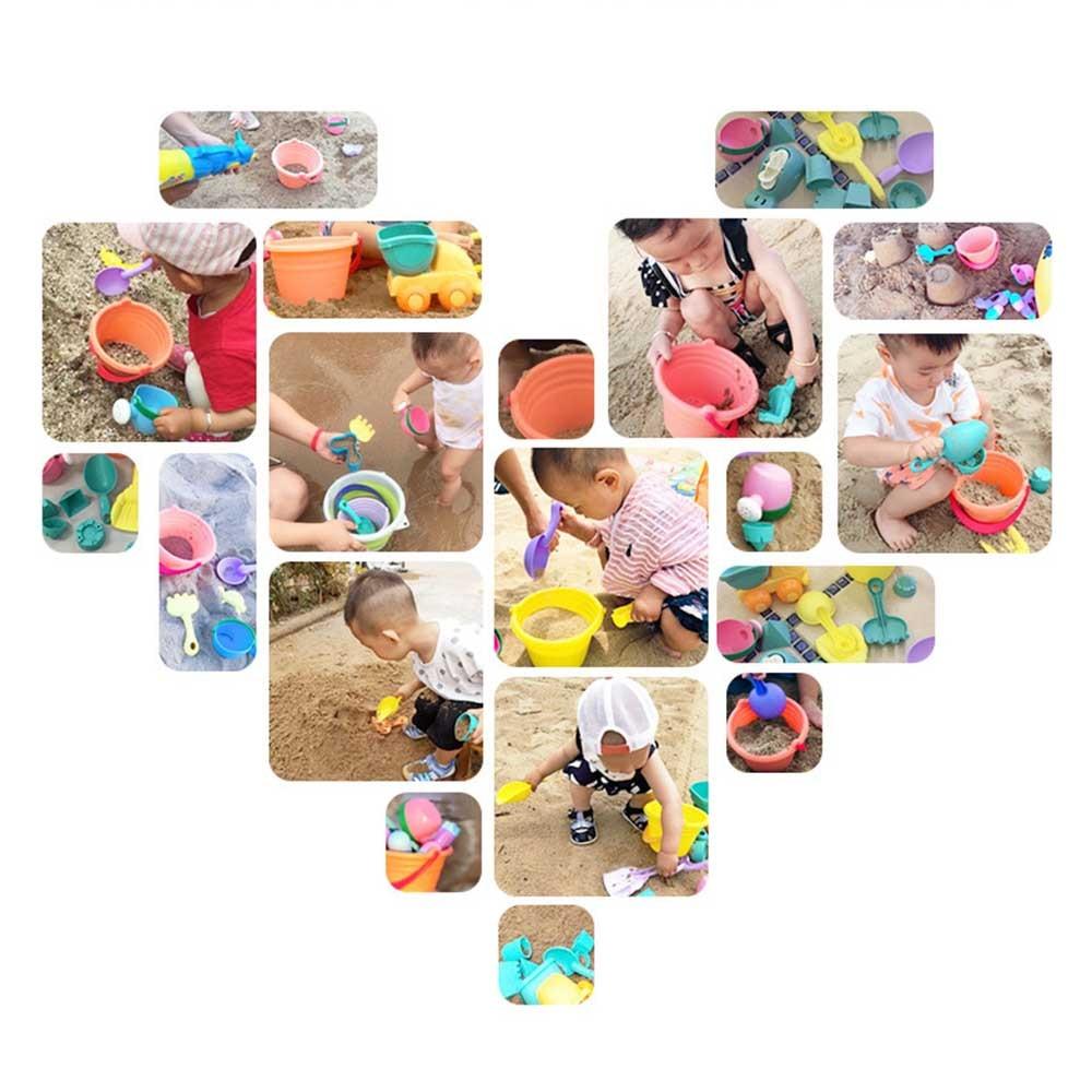 5/12/14pcs Summer Children'S Soft Rubber Beach Toy Car Play Sand Tool Shovel Child Sand Castle Diy Children'S Beach Bucket