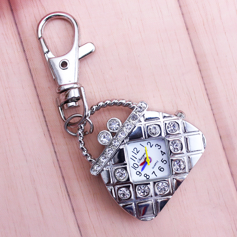 2018 cyd nuove Borse di forma con il diamante del quarzo delle signore della vigilanza di tasca delle donne delle ragazze di cristallo di lusso catene chiave di modo fob della vigilanza