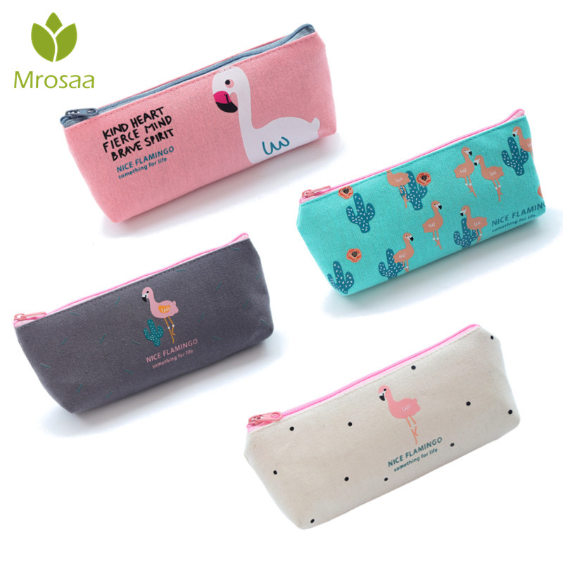 Newest 1PC Cute Flamingo Canvas Pencil Cases Stationery Storage Pen Bag Gifts School Office Pencil Bags Lovelty Pencil Pouch