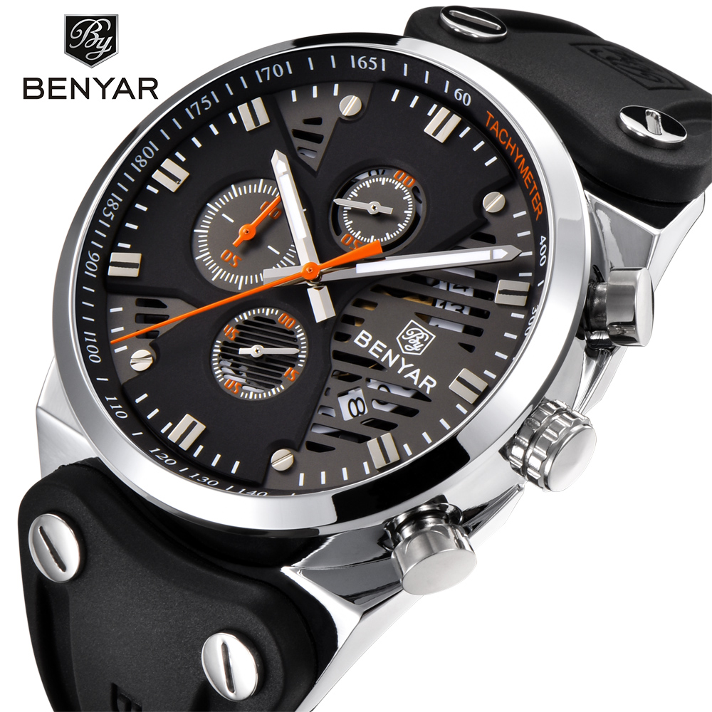 BENYAR 2018 Waterproof 30M Outdoor Hollow Sports Chronograph Watch Skeleton Cale