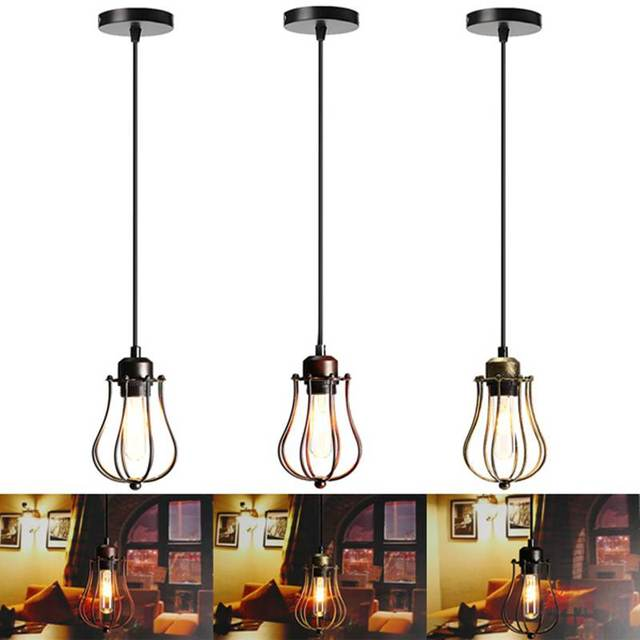 1.2m Lamp Shade E27 Vintage Retro Industrial Loft Cage Lamp Cover ...