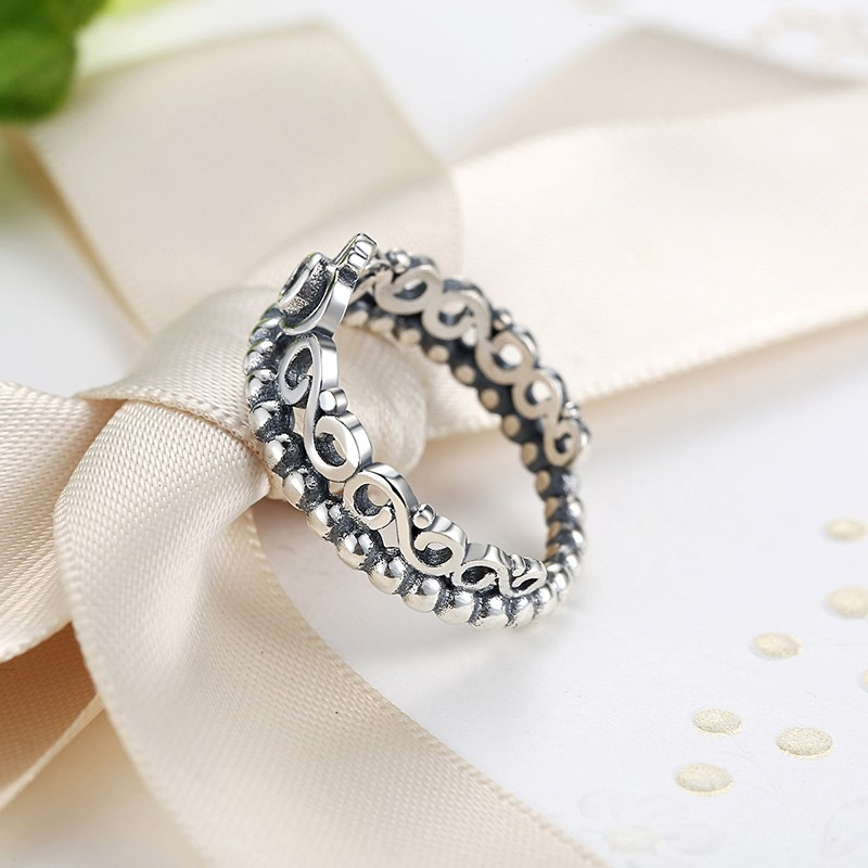 Silver Plated Crown Wedding Ring For Women