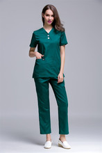 2017 New Arrival Fashion Design Women's Short Sleeve Medical Scrub Uniforms Set Beauty Spa Working Clothes Medical Clothing Gown