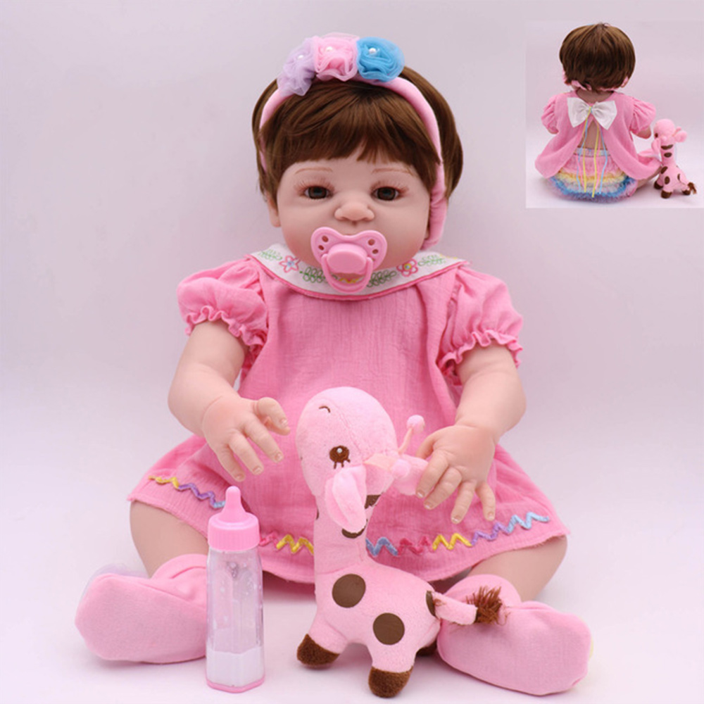 KAYDORA Reborn Baby Dolls Girl Pink Full Vinyl Bath Toys Lifelike Newborn Bebe Boneca Beautiful Christmas