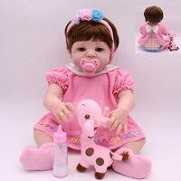 KAYDORA Reborn Baby Dolls Girl Pink Full Vinyl Bath Toys Lifelike Newborn Bebe Boneca Beautiful Christmas Gift Toys For Girls