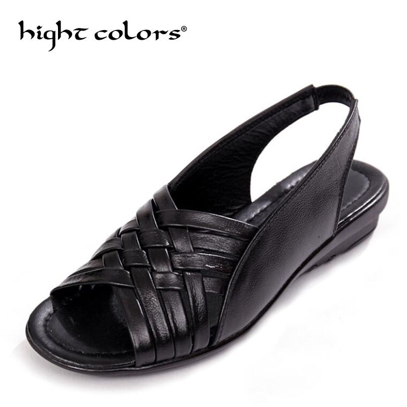 2018 Summer Women Shoes Woman Genuine Leather Flat Sandals Open Toe Mother Wedges Casual Sandals Women Sandals Black Big Size 43 nemaone new 2017 women sandals summer style shoes woman platform sandals women casual open toe wedges sandals women shoes