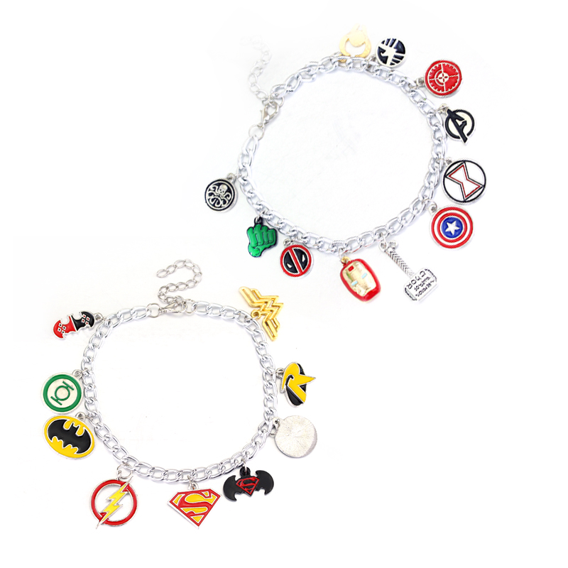 Fashion Jewelry The Avengers 3 Bracelet Captain America Superman Charm Bracelets for Women Gifts Free Shipping