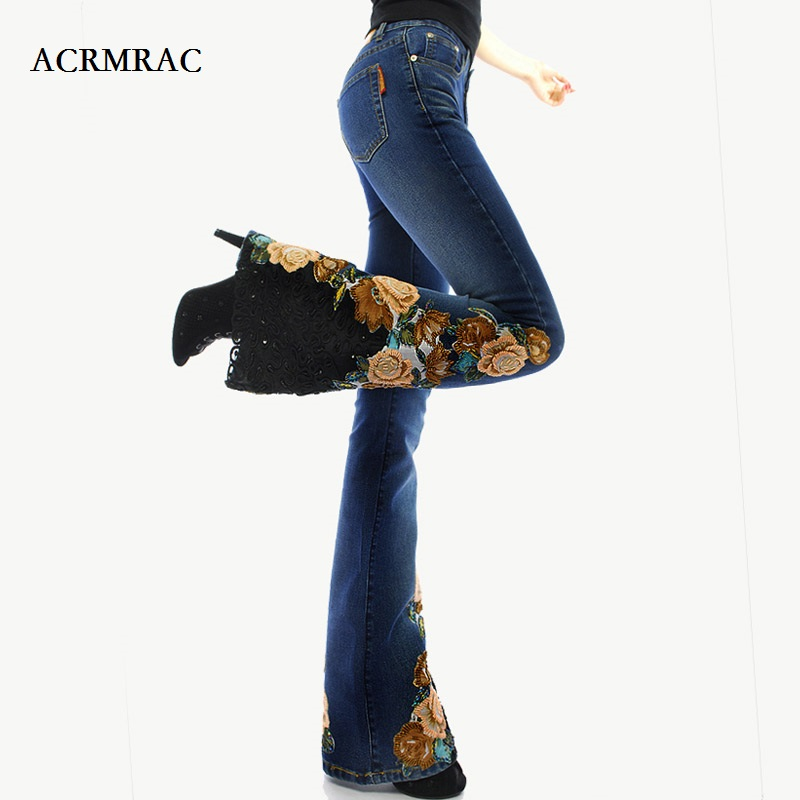ACRMRAC woman embroidery Beads micro folk-custom Lace edge High waist Elasticity Slim Thin Flare Pants   jeans   Women