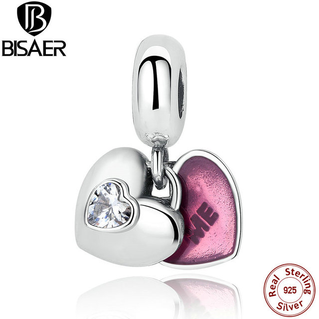 You & Me BISAER 100% Sterling Silver Dois-Parte Clara CZ & Fuchsia Esmalte Charme Fit Pandora Bracelet & Bangle Presente Namorada AS273