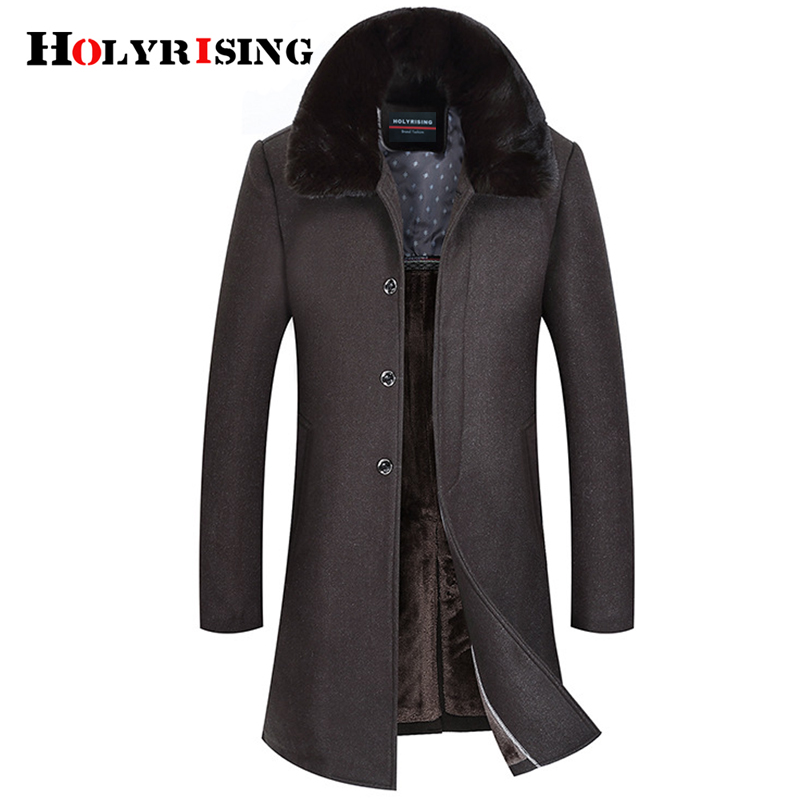 Holyrising Men Wool Coats Thick Man Coat Jaket Long Fur Collar Overcoat Soft Peacoat Wool Blends Breasted Button Clothes 18898-5