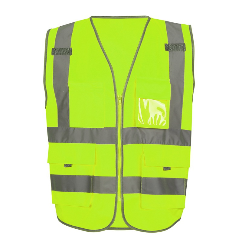 Unisex High Visibility Safety Vest Jacket & Pocket bag reflective zipper safety jacket outdoor vest uniform sportswear