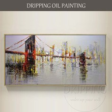 Professional Painter Hand-painted High Quality Abstract City Oil Painting on Canvas Big Size Skyscraper