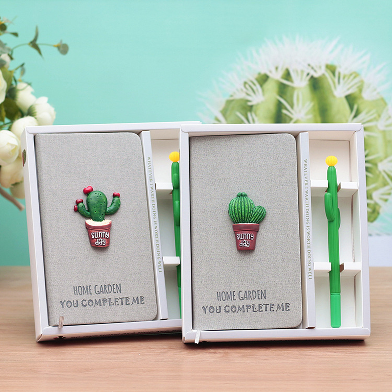 Korean Small Refreshing Notepad Hand Account Cactus Notebook Student Gift Wholesale Office & School Supplies Writing Pads blel hot a4 display book documents storage portfolio folder document folder file folder 100 pockets school stationary tool