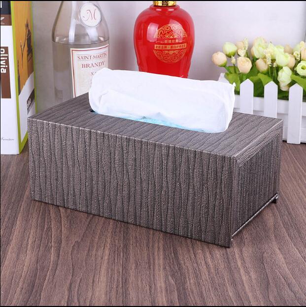 Luxurio Vintage en bois + cuir PU tissu support de la boîte tissu boîte porte-serviettes papier porte-serviettes pour La Maison DecorationPZJH009