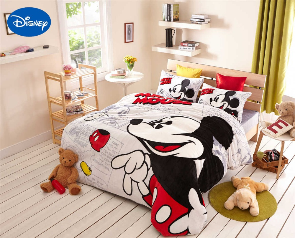 Buy Cartoon Mickey Mouse Print Flannel Comforter Bedding Sets Twin Full Queen