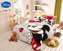 Cartoon Mickey Mouse Print Flannel Comforter Bedding Sets Twin Full Queen Size Bedspread Girls Bedroom Decor Warm Soft Winter