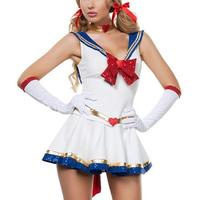 One Set Sexy Lady White Moon Sailor Moon Costume Suit Cartoon Anime Cosplay Women Female Halloween Costume Role Play