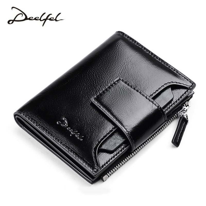 DEELFEL Genuine Leather Men Wallets Short Coin Purse Small Vintage Wallet Cowhide Leather Card Holder Pocket Purse Men Wallets high quality 100% genuine leather women wallet ladies short wallets leather small wallet coin purse girl card holder clutch bag