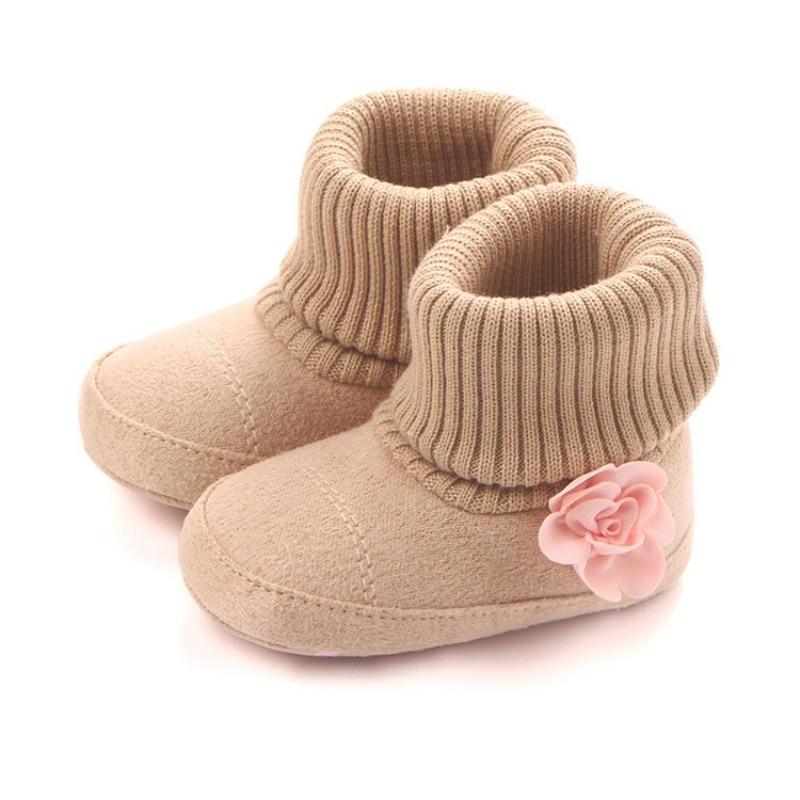 Baby Sko Efterår Vinter Vugge Vogn Bebe First Walkers Børn Nyfødt Spædbarn Toddler Super Hold Varm Blomst Boots Booty