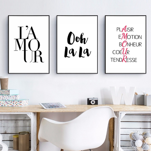 Love Print French Fashion Canvas Painting Modern Minimalist Art Typography Printing Wall