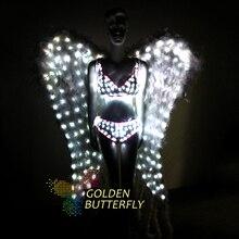LED Suits Luminous Costumes 2017 Glowing Women Bras Shorts Angel Bird Wing LED Clothing Lady LED Set Dance Dresses Accessories