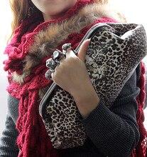 Heißer Verkauf frauen Abendtaschen Lässig Kupplung Zart Leopardenmuster Parteigeldbeutel Handgemachte Knucklebox Handtasche SMYCWL-A0011