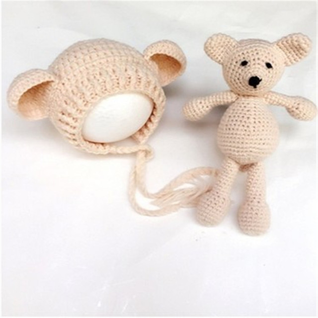 c105c805f29 Newborn Photography Props Photo Shoots For Infant Baby Boys Girls Cute  Handmade Crochet Hat bear Sets Costume Outfit Clothing