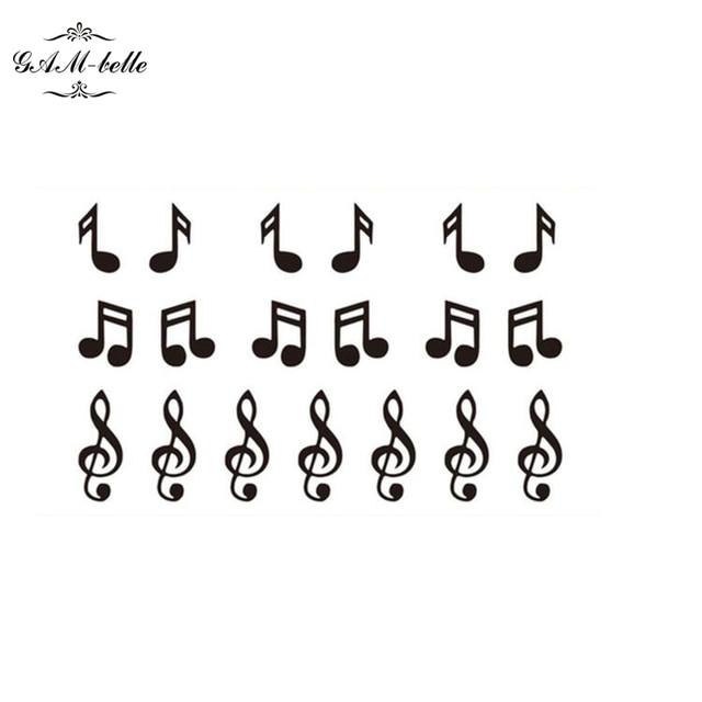 Musique Originale Note Autocollants De Tatouage Imperméable Noir Et