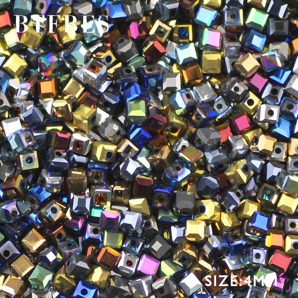 BTFBES Square Shape Austrian Crystal Beads Quadrate 4MM 100pcs Plating AB Glass Space Loose Bead for Jewelry Bracelet Making DIY in Beads from Jewelry Accessories