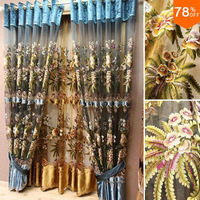 Romantic Tulle Flowers embroidery eyelet string curtain sheet gold 3D curtains tulle with valance velvet eyelets tulle curtains