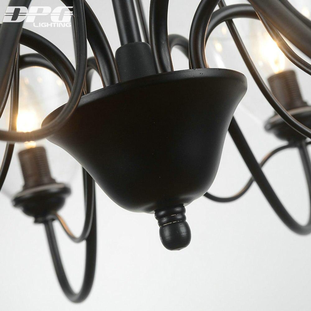 Modern art deco Led Schwarz Eisen kronleuchter leuchten mit Glas ...