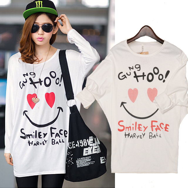 0aab4b4c24 Free Shipping 2015 Cute Sweet Women T Shirt Girl Smile Print Loose Batwing  Sleeve T Shirts Cotton Casual Tshirt Women Tops