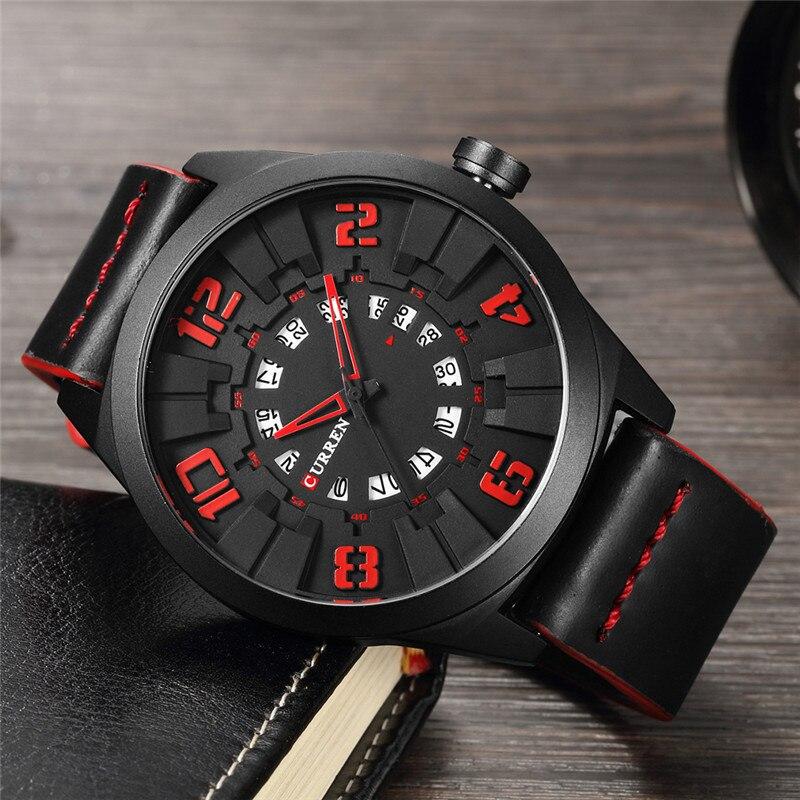 CURREN Military Sport Quartz watch Men Black Fashion Casual Army Top Brand Luxury Leather Quartz-Watch Male Clock red