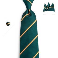 DiBanGu модные Для Мужчин зеленый желтый полосатый галстук Шелковый формальные связи галстук 8 см Ширина галстук-стрела Галстуки N-7094