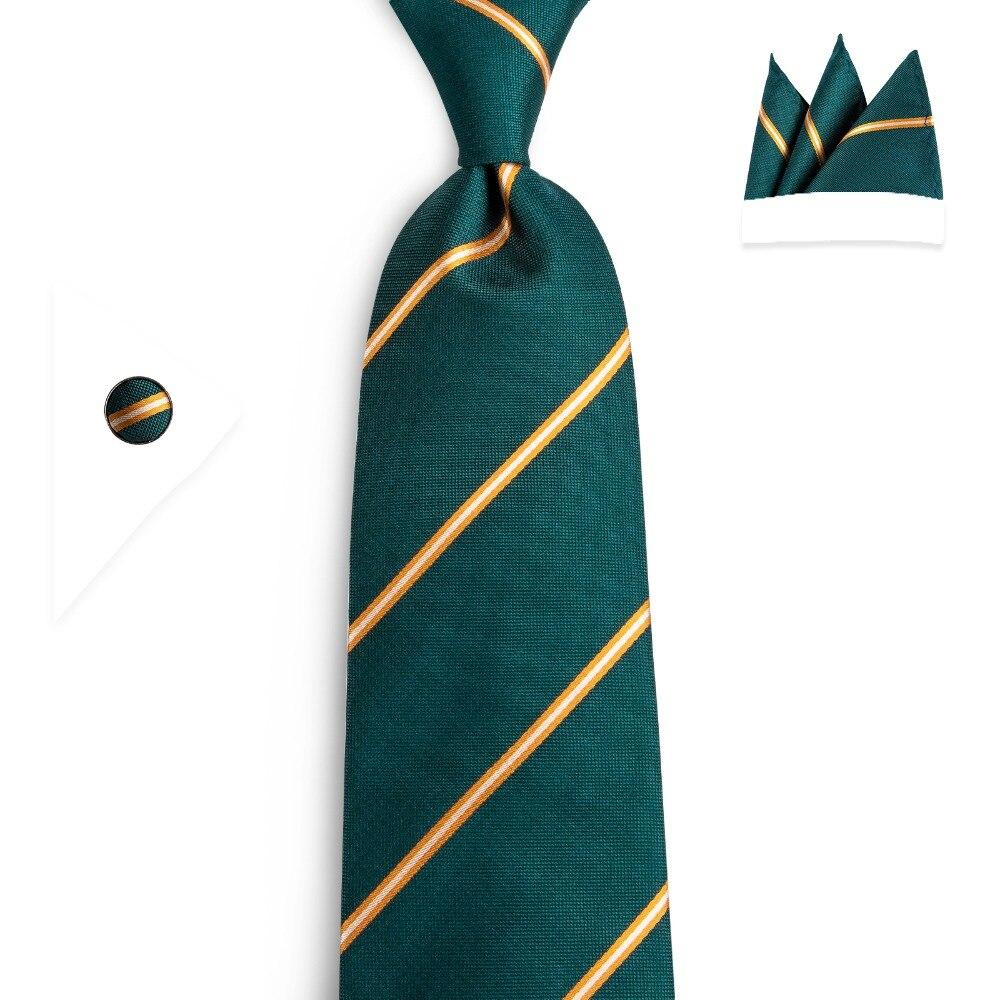 DiBanGu Designer Fashion Men's Green Gold Striped Tie Silk Wedding Ties For Men Necktie 8CM Width Narrow Necktie Corbatas N-7094