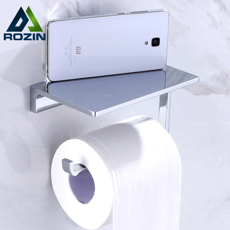 Polish Chrome Roll Toilet Paper Tissue Holder Wall Mounted Brass Mobile Phone Holder Bathroom Shelf space aluminum paper holder roll tissue holder hotel works toilet roll paper tissue holder box waterproof design