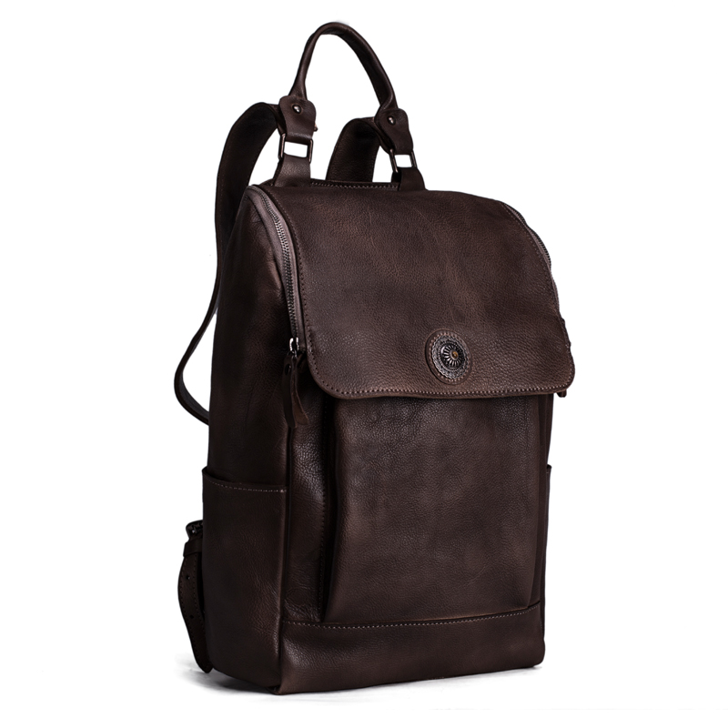 High Quality England Vintage Style Genuine Leather Men Backpacks For - Backpacks