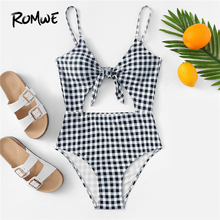 08c732a6949c5 Romwe Sport Black and White Gingham Pattern Cut-Out Plaid One Piece Swimsuit  Women Summer