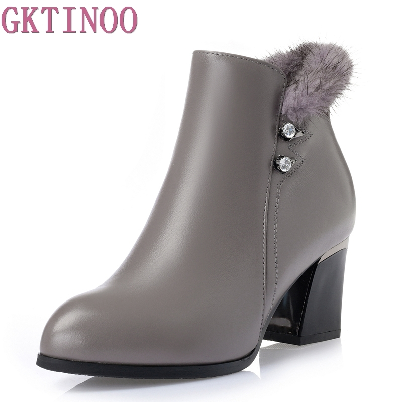 Winter New Women Boots Solid Casual Ankle Boots Round Toe Women Shoes Genuine Leather Martin Boots Warm British Style women led light shoes casual shoes led luminous boots unisex genuine leather ankle boots women usb charging martin boots 35 46