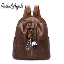 Jiessie&Angela Women Anti Theft Leather Backpack Rucksack High Quality Back Pack Girls Backpacks Brand Female Vintage Travel Bag