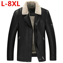 2017 new Plus size  8XL Winter Mens Genuine Leather Jacket Brand Clothing Sheepskin Coat Rex Rabbit Fur Parka with Mink Collar