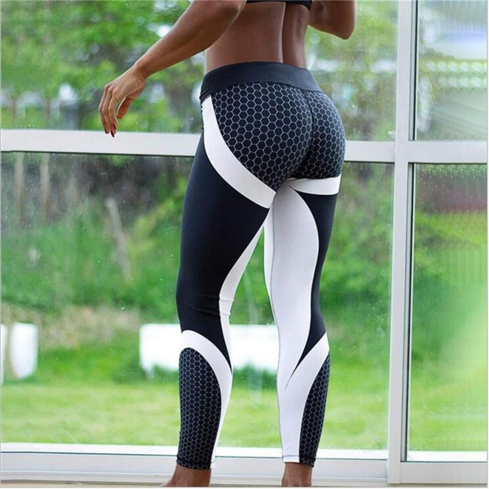 Mesh Pattern Print Leggings Fitness Leggings For Women Sporting Workout Leggins Jogging Elastic Slim Black White Pants(China)