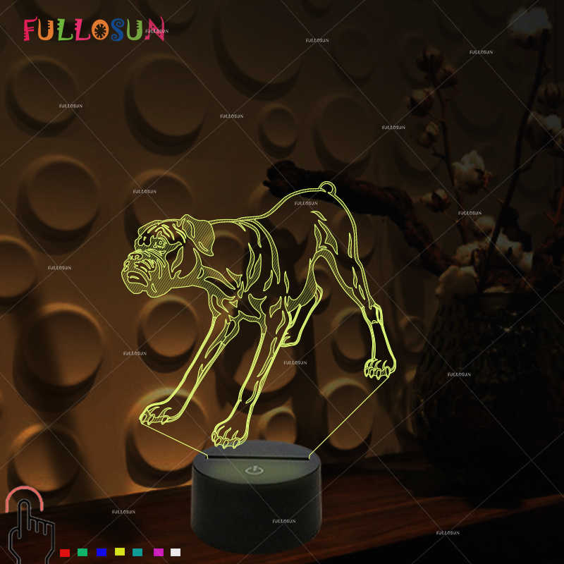 Boxer LED Lamp Colorful Flashing 3D Dog Night Lamp Creative Gift 3D LED USB Light as Kids Room Decoration 3d led lamp light spiral colorful night light for wedding decoration innovative christmas gift present