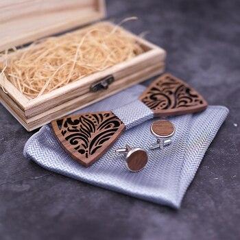Fabien Leaf Wooden Bowtie Cufflinks Set – Navy