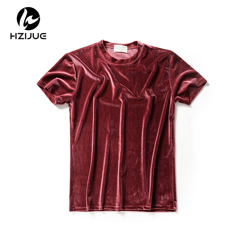 HZIJUE 2018 spring summer short sleeve solid   t  -  shirt   streetwear tops Hot sale men hip hop Velvet Fabric   t     shirt   fashion male tee