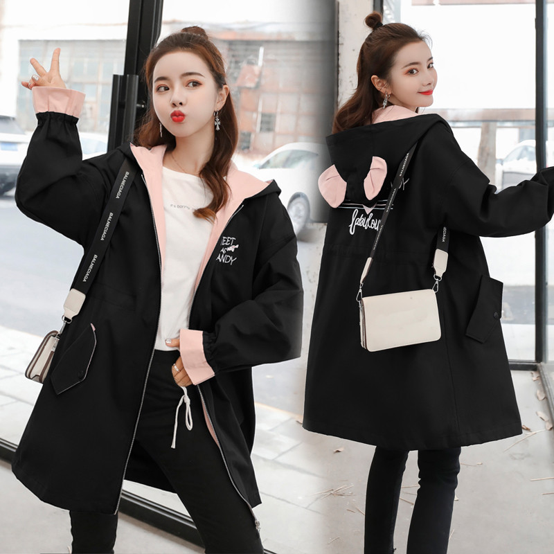 Fashion Large Size Women's Cothing 2019 Spring Autumn New Long Sleeve Hooded Cute Long   Trench   Coats for Girls Overcoats V492