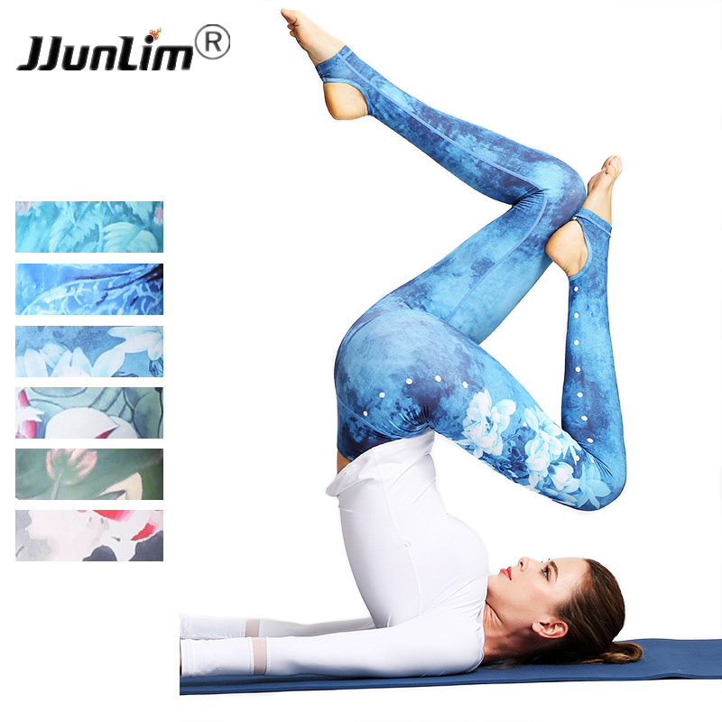 Women Printed Yoga Pants Sport leggings Elastic Fitness Gym Pants Workout Running Tight leggins sport women fitness Trousers