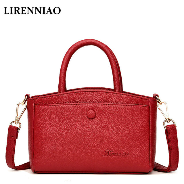 f0f1816e0b LIRENNIAO 2018 new women s shoulder messenger bag soft real leather lychee  fashion summer small bag Ladies totes