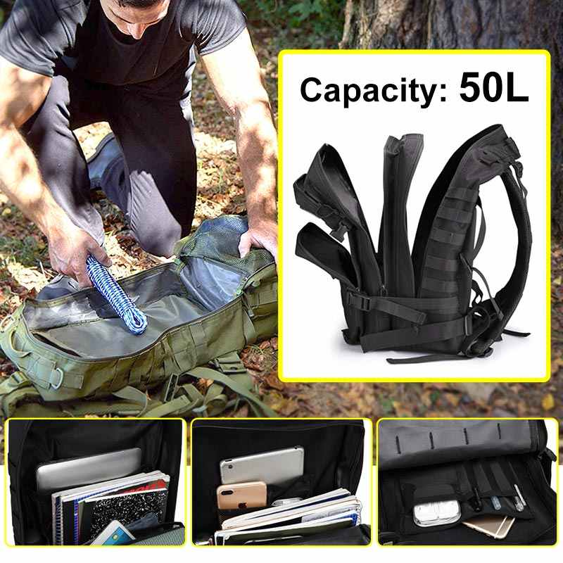Grande capacité homme armée tactique sacs à dos assaut militaire 50L Camping sac à dos étanche sport Trekking chasse en plein air sacs